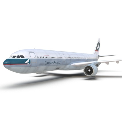 Jet Airliner Airbus A330-300 Cathay Pacific Rigged. Render 28