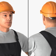 Construction Worker Black Uniform with Hardhat Standing. Preview 8