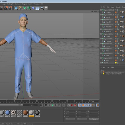 Male Surgeon Asian Rigged with Blood 2 for Cinema 4D. Render 37