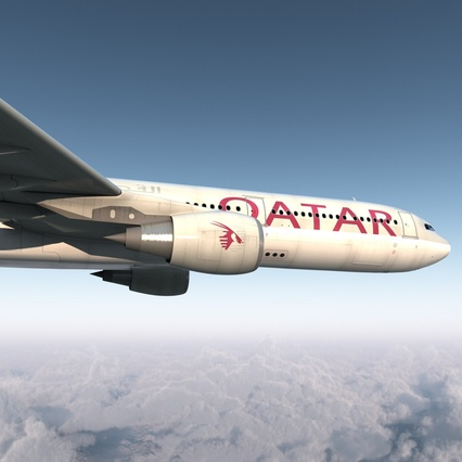 Jet Airliner Airbus A330-300 Qatar Rigged. Render 15