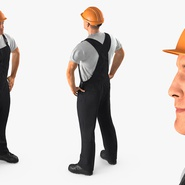Construction Worker Black Uniform with Hardhat Standing. Preview 6