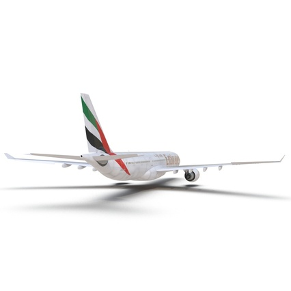 Jet Airliner Airbus A330-300 Emirates Rigged. Render 32