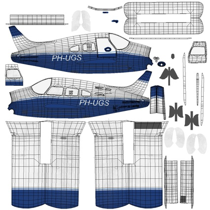 Piper PA-28-161 Cherokee Rigged. Render 25