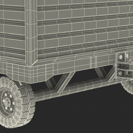 Airport Luggage Trolley with Container Rigged. Render 34