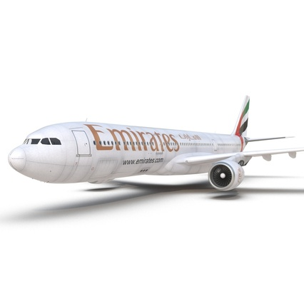 Jet Airliner Airbus A330-300 Emirates Rigged. Render 38