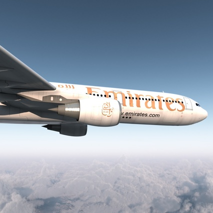 Jet Airliner Airbus A330-300 Emirates Rigged. Render 15
