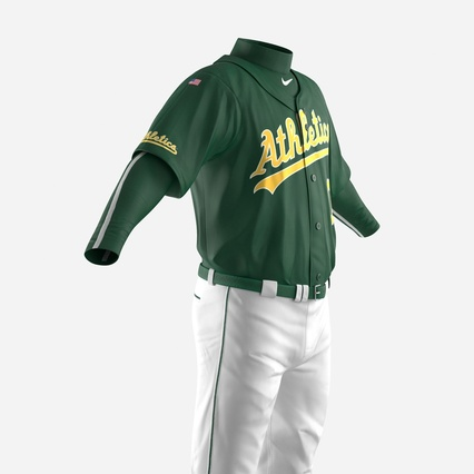 Baseball Player Outfit Athletics 3. Render 16