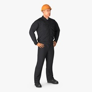 Worker Black Uniform with Hardhat Standing Pose