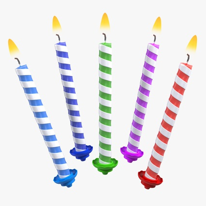 Birthday Candles with Flame Set. Render 1