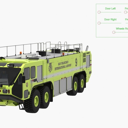 Oshkosh Striker 4500 Aircraft Rescue and Firefighting Vehicle Rigged. Render 4