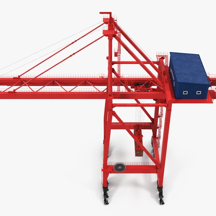 Port Container Crane Red with Container. Render 12