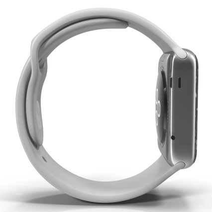 Apple Watch Sport Band White Fluoroelastomer 2. Render 16