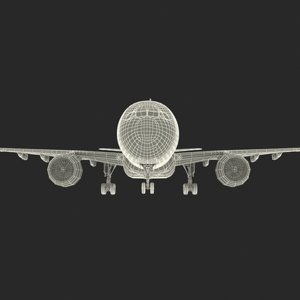 Jet Airliner Airbus A330-200 Northwest Airlines Rigged. Render 64