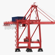 Port Container Crane Red with Container. Preview 3