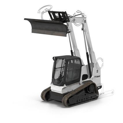 Compact Tracked Loader Bobcat With Blade Rigged. Render 5