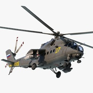 Russian Large Helicopter Gunship Mi-35M Hind Rigged