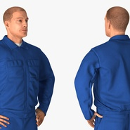 Construction Worker Blue Overalls Standing Pose. Preview 8