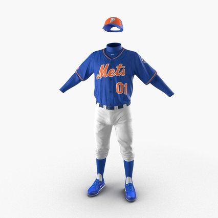 Baseball Player Outfit Mets 2. Render 2