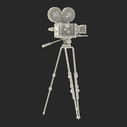 Vintage Video Camera and Tripod. Render 35