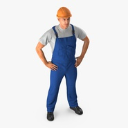 Construction Worker with Hardhat Standing Pose