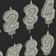 Number Birthday Candles with Flame. Preview 22