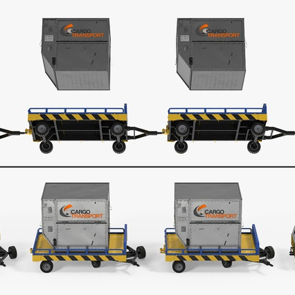 Airport Tug Clark CT30 Carrying Passengers Luggage. Render 9