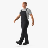 Construction Worker Black Overalls Walking Pose