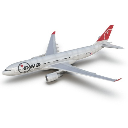 Jet Airliner Airbus A330-200 Northwest Airlines Rigged. Render 27
