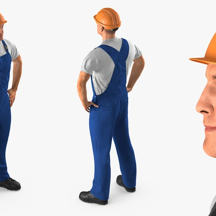 Construction Worker with Hardhat Standing Pose. Render 6