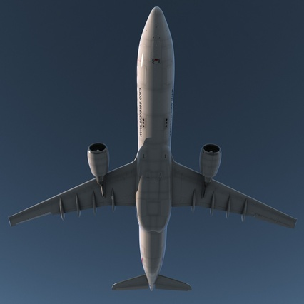 Jet Airliner Airbus A330-300 Emirates Rigged. Render 12