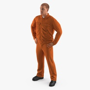 Factory Worker Orange Overalls Standing Pose. Preview 2