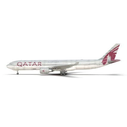 Jet Airliner Airbus A330-300 Qatar Rigged. Render 4