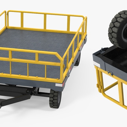 Airport Luggage Trolley Baggage Trailer with Container. Render 10