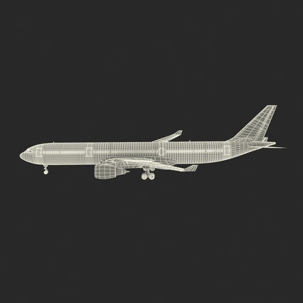 Jet Airliner Airbus A330-300 Emirates Rigged. Render 6