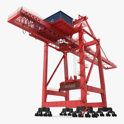 Port Container Crane Red with Container. Render 1