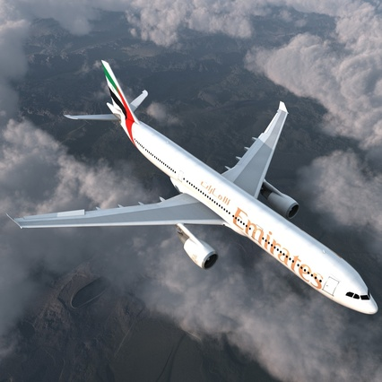 Jet Airliner Airbus A330-300 Emirates Rigged. Render 8