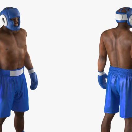 African American Boxer Rigged for Cinema 4D. Render 15