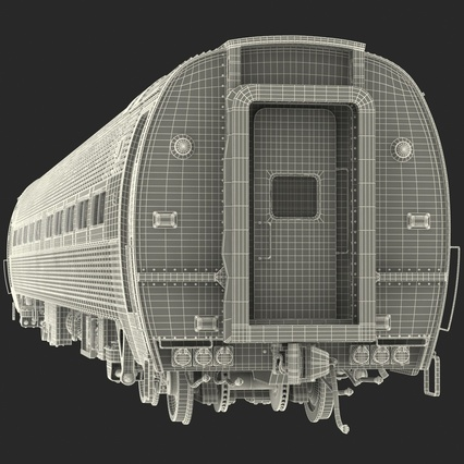 Railroad Amtrak Passenger Car 2. Render 58