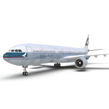 Jet Airliner Airbus A330-300 Cathay Pacific Rigged. Render 29
