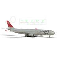Jet Airliner Airbus A330-300 Northwest Airlines Rigged. Preview 5
