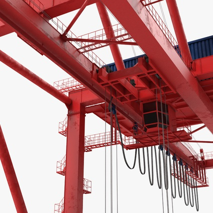 Port Container Crane Red with Container. Render 23