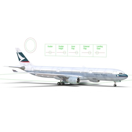 Jet Airliner Airbus A330-300 Cathay Pacific Rigged. Render 40