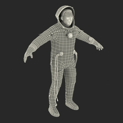 Russian Astronaut Wearing Space Suit Sokol KV2 Rigged for Maya. Render 56