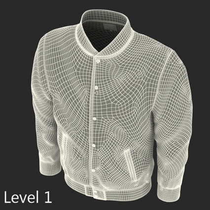 White Baseball Jacket. Render 11