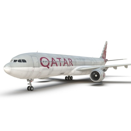 Jet Airliner Airbus A330-300 Qatar Rigged. Render 38
