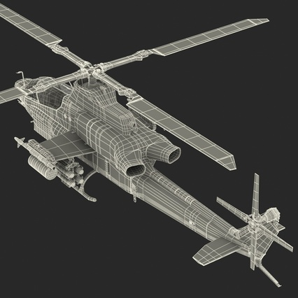 Attack Helicopter Bell AH 1Z Viper Rigged. Render 96