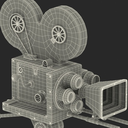 Vintage Video Camera and Tripod. Render 49