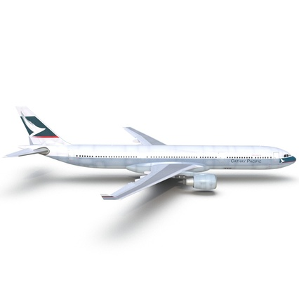 Jet Airliner Airbus A330-300 Cathay Pacific Rigged. Render 15