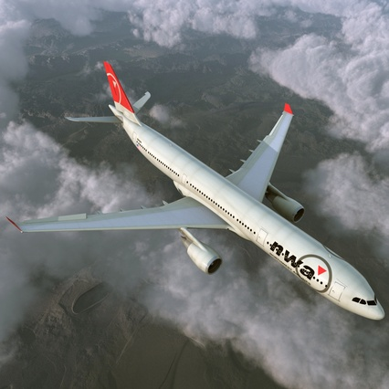 Jet Airliner Airbus A330-300 Northwest Airlines Rigged. Render 8