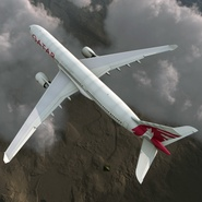 Jet Airliner Airbus A330-300 Qatar Rigged. Preview 10